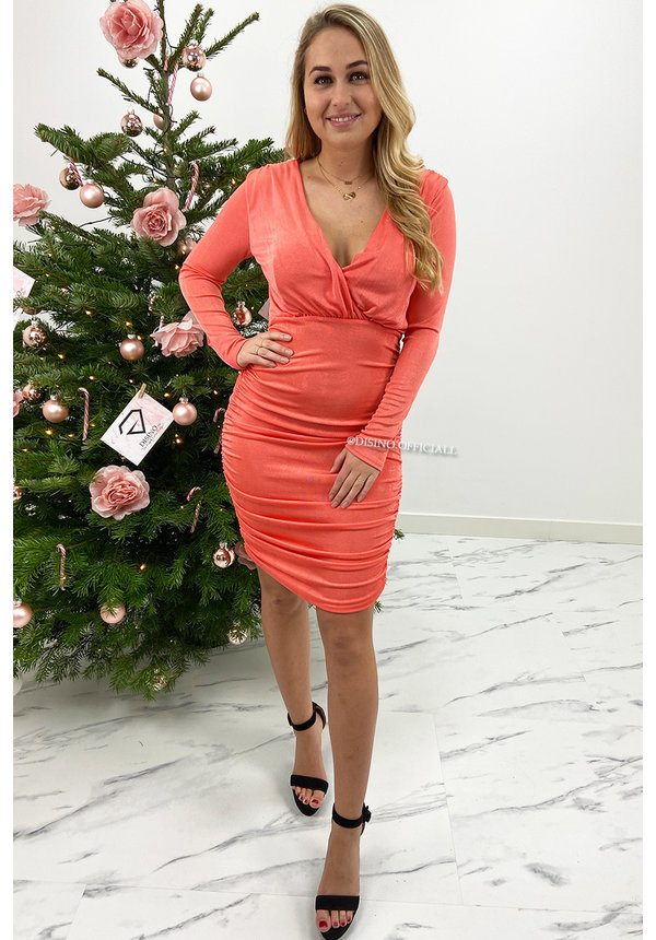 CORAL - 'SELINA' - SUPER STRETCH MIDI DRESS