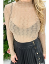BEIGE - 'DOREEN' - SPARKLE MESH TOP