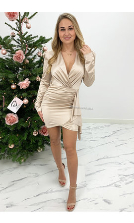 CHAMPAGNE - 'NOAH' - SATIN LONG SLEEVE DRESS