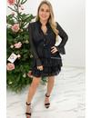 BLACK - 'RAFAELA DRESS' - GLITTERLY LAYERED RUFFLE DRESS