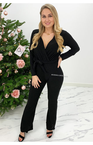 BLACK - 'JULIA' - ALL OVER SPARKLE LONGSLEEVE JUMPSUIT