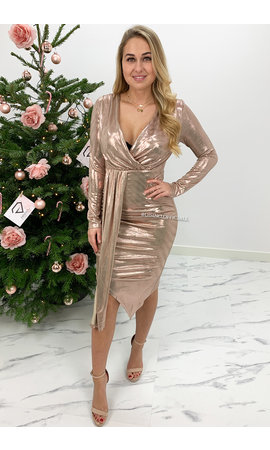 ROSE - 'ARIEL' - METALLIC MIDI DRESS