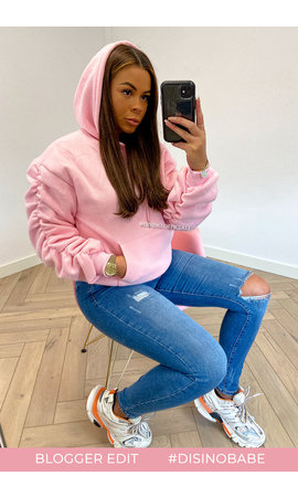 CANDY PINK - 'DONNA' - PREMIUM QUALITY RUCHED SLEEVE HOODIE