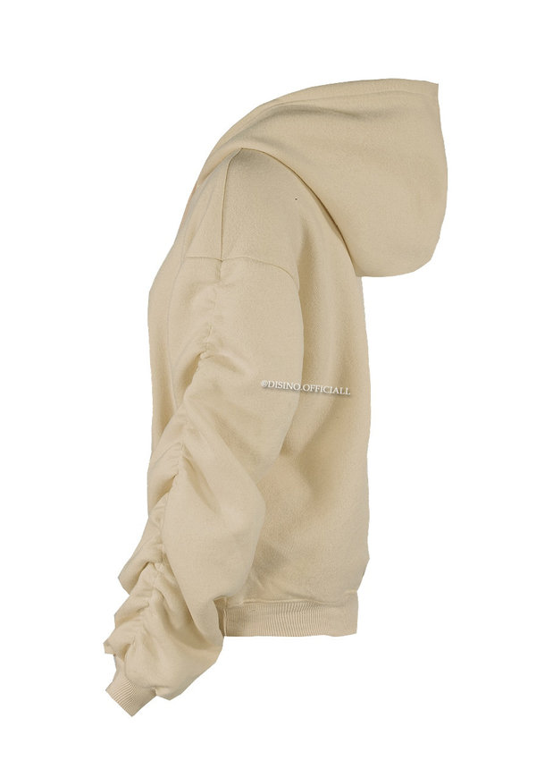 CAMEL - 'DONNA' - PREMIUM QUALITY RUCHED SLEEVE HOODIE