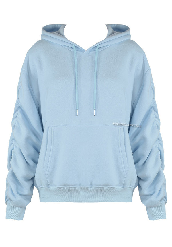 BABY BLUE - 'DONNA' - PREMIUM QUALITY RUCHED SLEEVE HOODIE