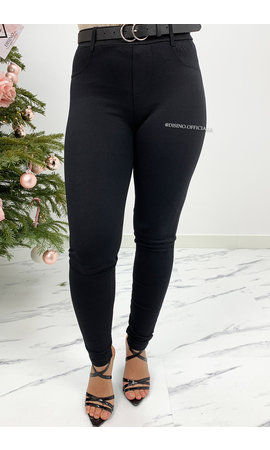 BLACK - 'CAMPBELL' - SUPER STRETCH TREGGING PANTS WITH BELT