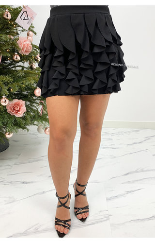 BLACK - 'BUBBLEGUM' - RUFFLE STRETCH SKIRT