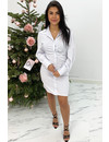 WHITE - 'STORMY' - RUCHED BLOUSE DRESS
