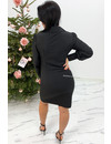 BLACK - 'STORMY' - RUCHED BLOUSE DRESS