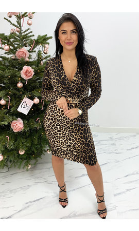 LEOPARD - 'IVANNA' - LONG SLEEVE LEOPARD DRESS