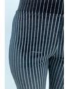 BLACK - 'SKYLA' - SILVER LINES VELVET FLARE PANTS