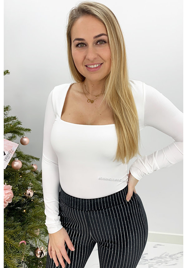 WHITE - 'NICOLE' - PERFECT FIT LONG SLEEVE TOP