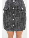 GREY - 'ALENA' - BUTTON UP TWEED SKIRT