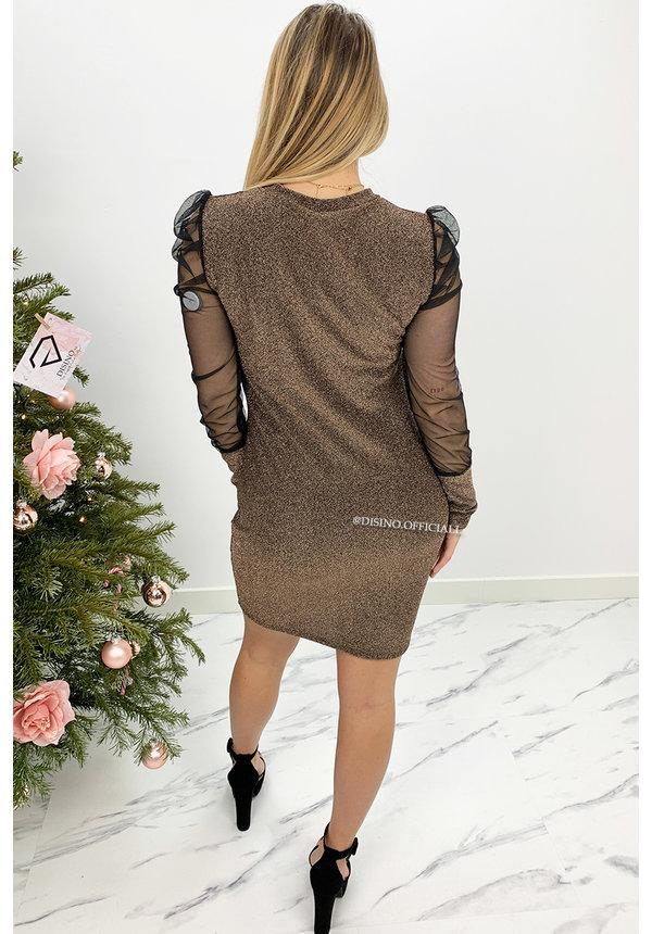 BRONSE - 'MIA' - MESH SLEEVE SPARKLE DRESS