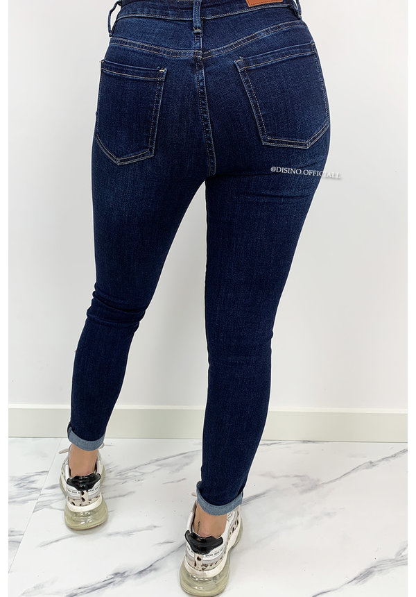 QUEEN HEARTS JEANS -DARK BLUE - PERFECT SKINNY ROLL UP - 9310
