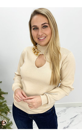 BEIGE - 'JOLEEN' - SWEATER WITH CHAINS