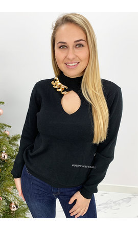 BLACK - 'JOLEEN' - SWEATER WITH CHAINS