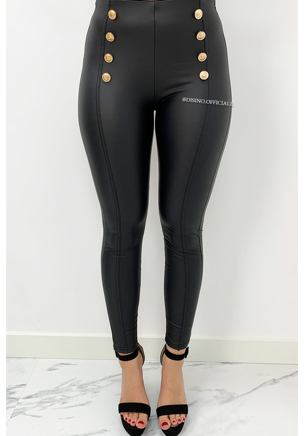 BLACK - 'BETTY' - HIGH WAIST GOLD BUTTON LEATHER PANTS