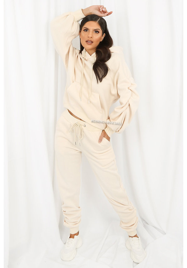 CREME - 'DONNA JOGGER SET' - RUCHED SLEEVE HOODIE + JOGGER PANTS