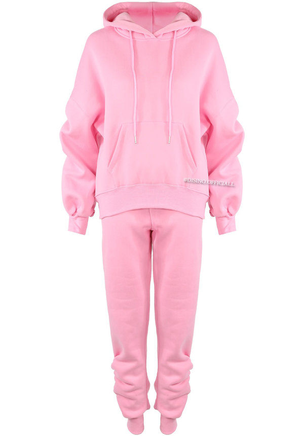 CANDY PINK - 'DONNA JOGGER SET' - RUCHED SLEEVE HOODIE + JOGGER PANTS