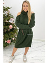 OLIVE GREEN - 'MIA LONG' - CABLE KNIT OPEN SHOULDER COL DRESS