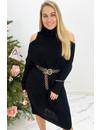BLACK - 'MIA LONG' - CABLE KNIT OPEN SHOULDER COL DRESS