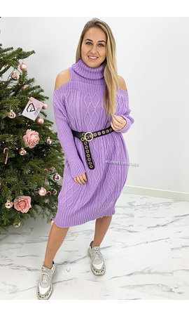 LILA - 'MIA LONG' - CABLE KNIT OPEN SHOULDER COL DRESS