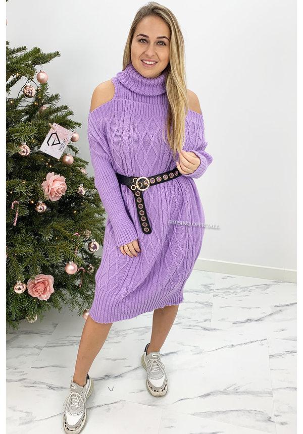 LILA - 'MIA LONG' - CABLE KNIT OPEN SHOULDER COL DRESS