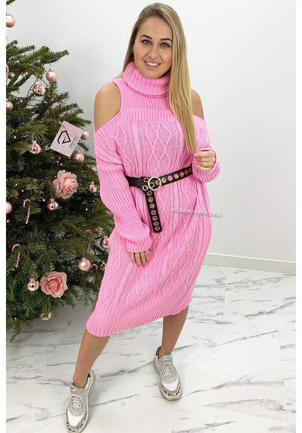 CANDY PINK - 'MIA LONG' - CABLE KNIT OPEN SHOULDER COL DRESS