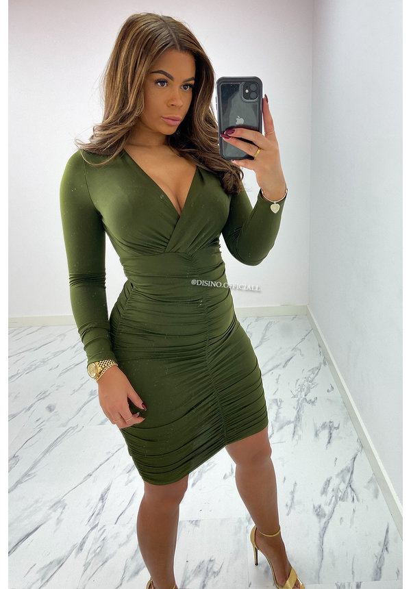 OLIVE GREEN - 'KENDALL' - PERFECT FIT LONG SLEEVE DRESS