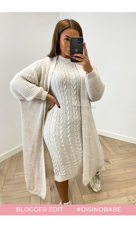 BEIGE - 'TYARA' - OVERSIZED KNITTED DRESS + VEST