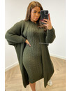 OLIVE GREEN - 'TYARA' - OVERSIZED KNITTED DRESS + VEST