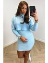 LIGHT BLUE - 'LILIANN' - PREMIUM QUALITY OVERSIZED CROP + DRESS SET