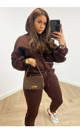 BROWN - 'DONNA JOGGER SET' - RUCHED SLEEVE HOODIE + JOGGER PANTS