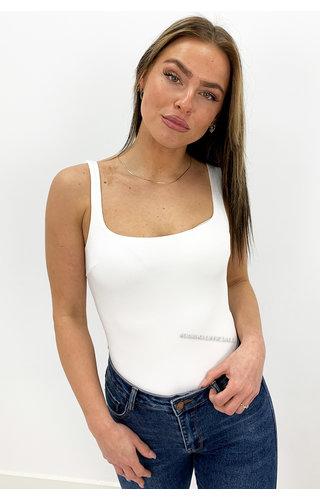 WHITE - 'NOVA' - SEAMLESS BASIC BODYSUIT