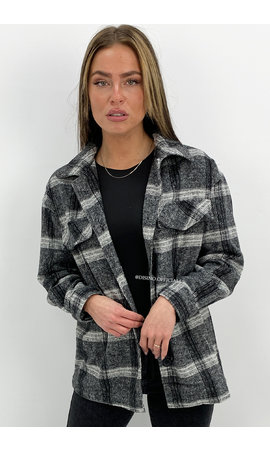 GREY - 'LINDA' - FLANEL CHECKED BLOUSE JACK
