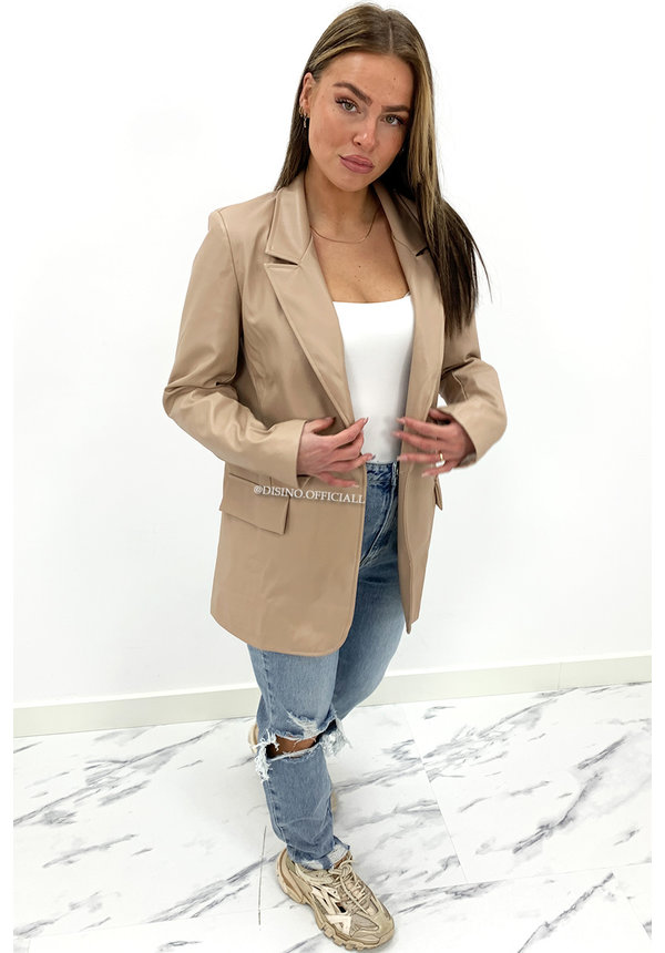 NUDE - 'CASEY' - VEGAN LEATHER OVERSIZED BLAZER