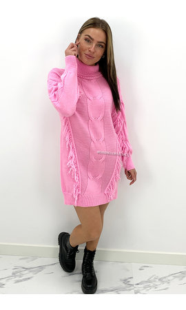 CANDY PINK - 'WENDY' - FRINGE CABLE KNIT DRESS