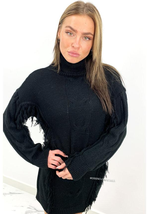 BLACK - 'WENDY' - FRINGE CABLE KNIT DRESS
