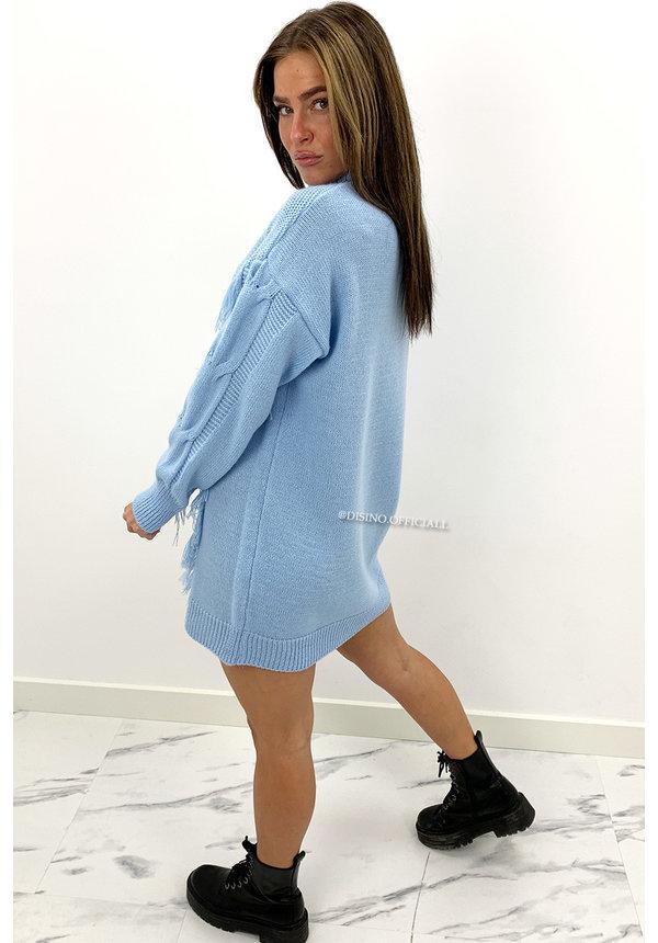LIGHT BLUE - 'WENDY' - FRINGE CABLE KNIT DRESS