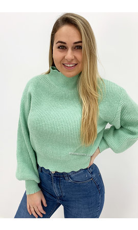 MINT GREEN - 'ESTRELLA' - PREMIUM QUALITY CROP COL  KNIT