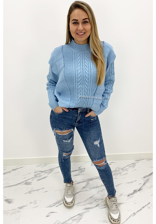 LIGHT BLUE - 'LIVIA V2' - PREMIUM QUALITY KNITTED RUFFLE SWEATER