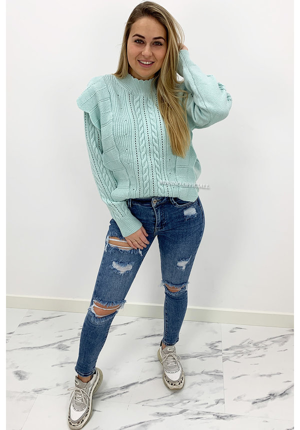 TURQUOISE - 'LIVIA V2' - PREMIUM QUALITY KNITTED RUFFLE SWEATER