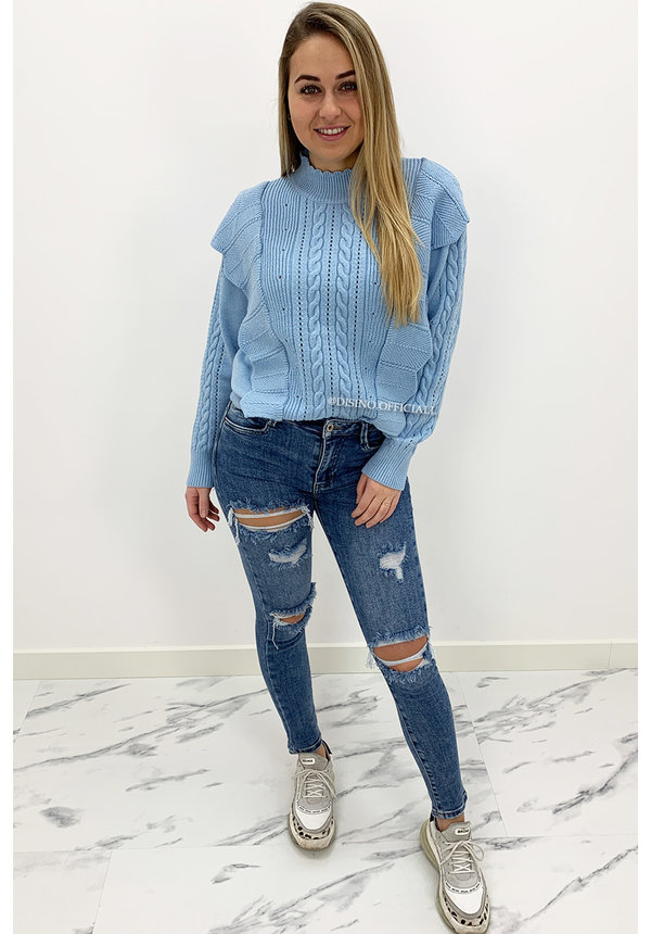 QUEEN HEARTS JEANS - WASHED BLUE - RIPPED SKINNY HIGH WAIST - 851
