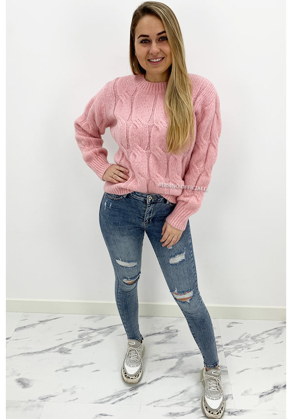 CANDY PINK - 'CARMEN' - PREMIUM QUALITY CABLE KNIT SWEATER