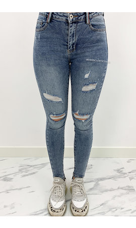 LAULIA - WHITEWASH BLUE - HIGH WAIST RIPPED SKINNY JEANS - 283