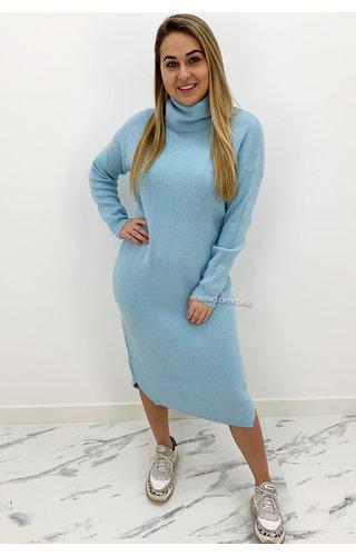 LIGHT BLUE - 'VANESSA' - PREMIUM MAXI KNIT COL DRESS