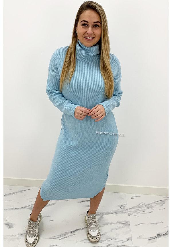 LIGHT BLUE - 'VANESSA DRESS' - PREMIUM MAXI KNIT COL DRESS