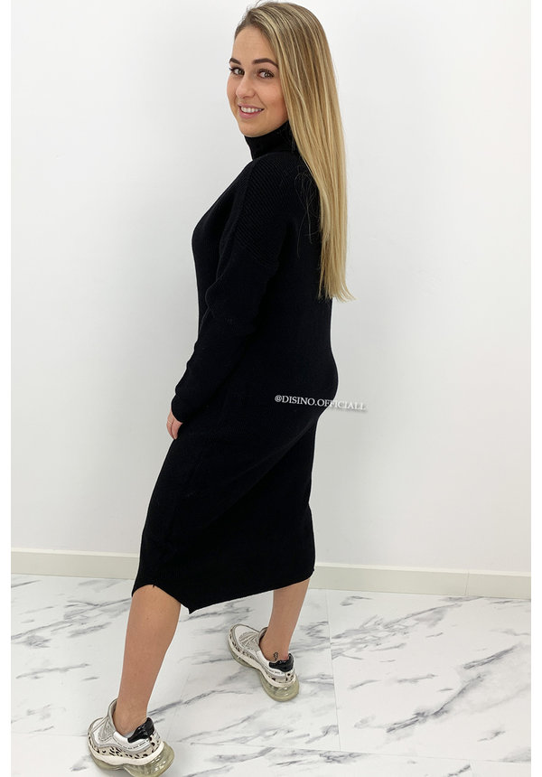 BLACK - 'VANESSA DRESS' - PREMIUM MAXI KNIT COL DRESS