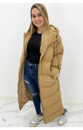CAMEL - 'DANI' - OVERSIZED LONGLINE PUFFER COAT WITH CAPUCHON
